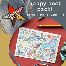 Load image into Gallery viewer, Happy Post Pack! Patch & postcard set