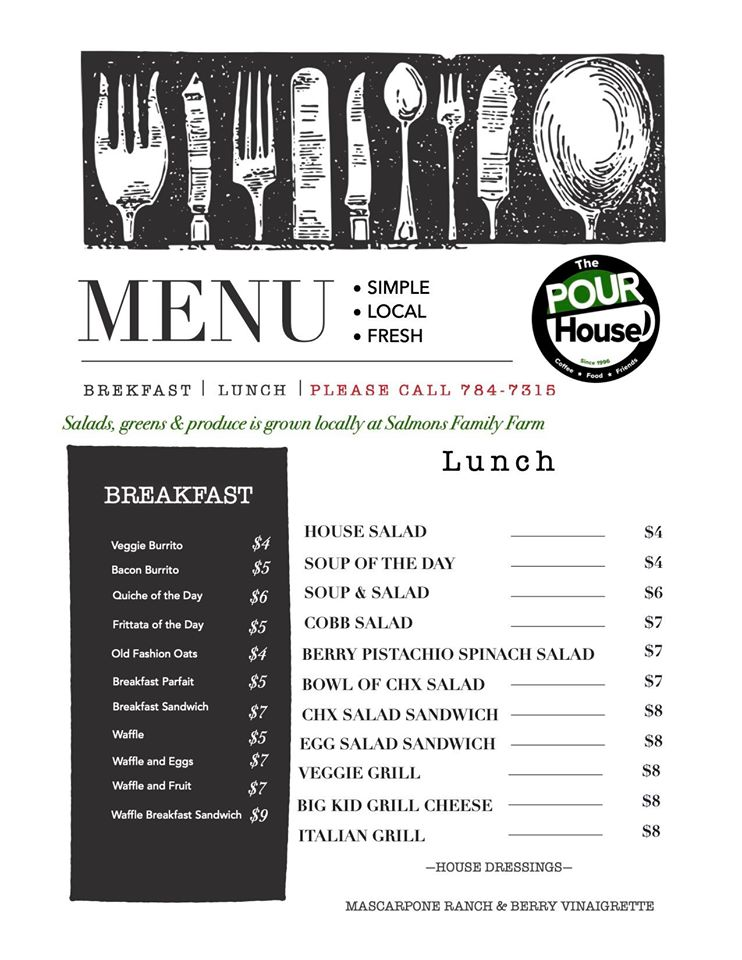 Pour House Food Menu