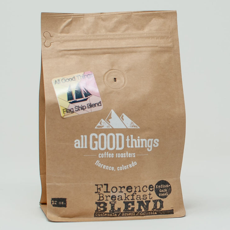 Florence Breakfast Blend, Medium-Dark Roast, Guatemala/ Brazil/ Colombia, Coffee Bag