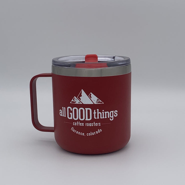 Camp Mug with lid. 12oz. Stop sign red with verse on back!