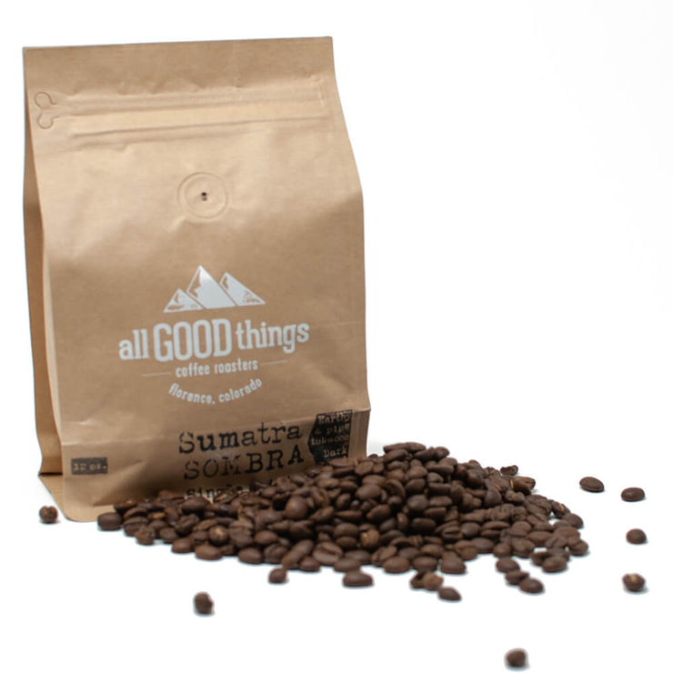Sumatra Sombra, Single Origin, Earthy & Pipe Tobacco, Dark Roast, Coffee Bag with Whole Beans