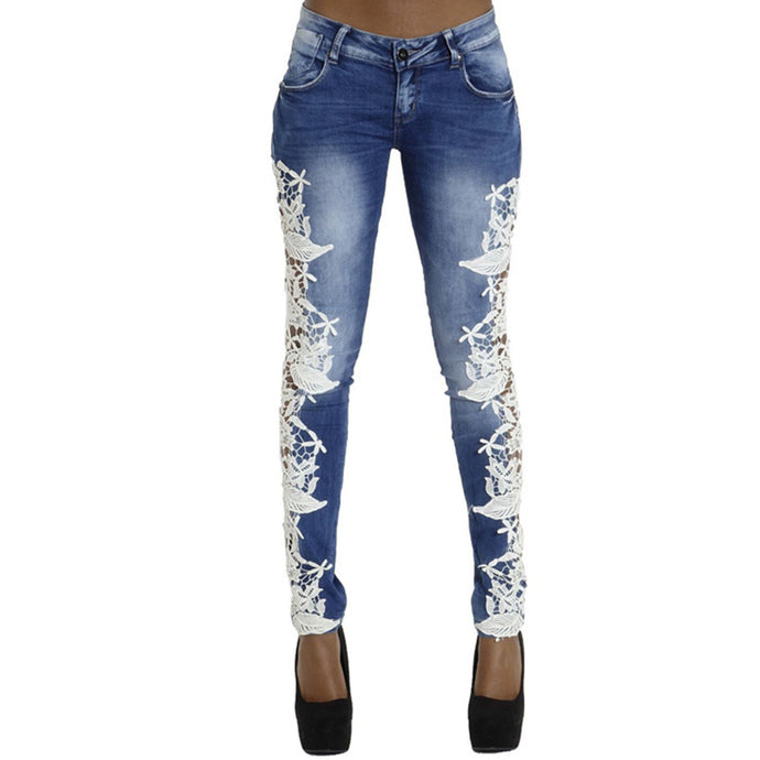 Fetoo Lace Patchwork Women Jeans