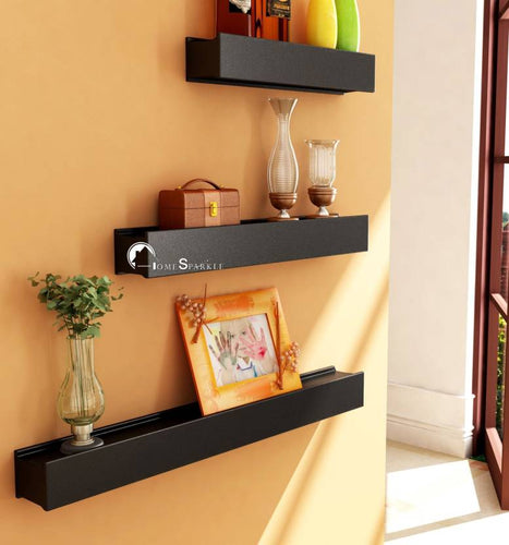 Home Sparkle Rail Joint Shaped Wooden Wall Shelf  (Number of Shelves - 3, Black)