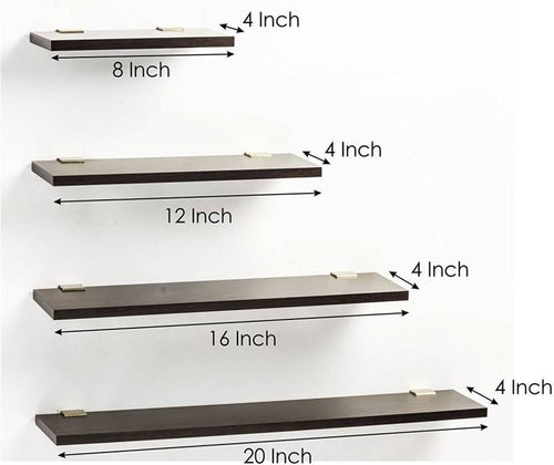 Wooden Wall Shelf  (Number of Shelves - 4, Brown)