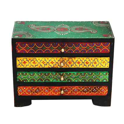 Wooden embrosses box 4 slot