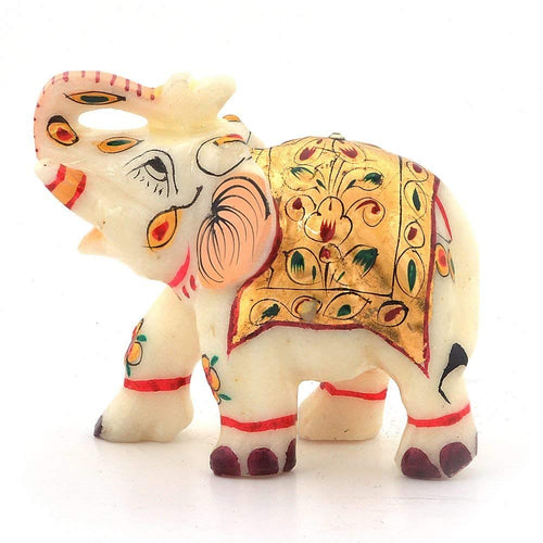 Little India Rajasthani Handmade Elephant Marble Handicraft ( White)
