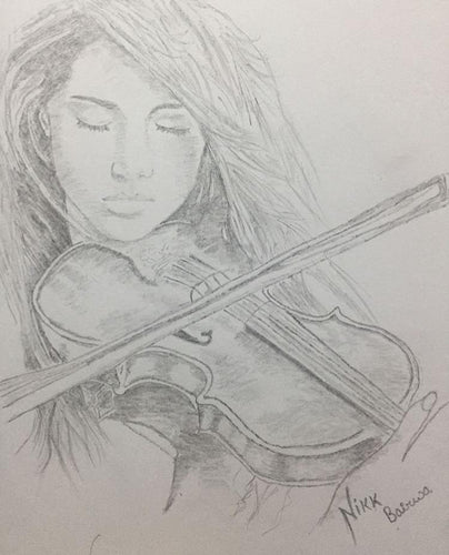 PENSIL SKETCH OF A GIRL PLAYING SITAR BY 4_AM_ARTS