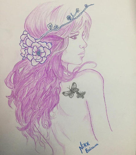 PENSIL  & PEN SKETCH OF GIRL IN PINK BY 4_AM_ARTS