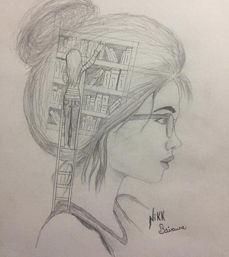 PENSIL SKETCH OF A GIRL WITH A LOT OF THOUGHTS BY 4_AM_ARTS