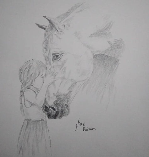 PENSIL SKETCH CUTE LITTLE GIRL LOVING HORSE COMIC BY 4_AM_ARTS