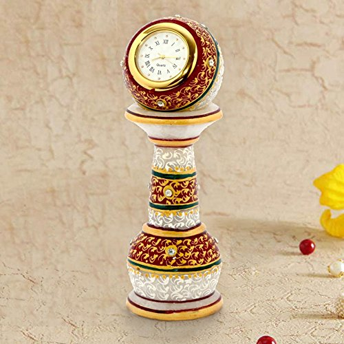 Gold plated marble pillar watch