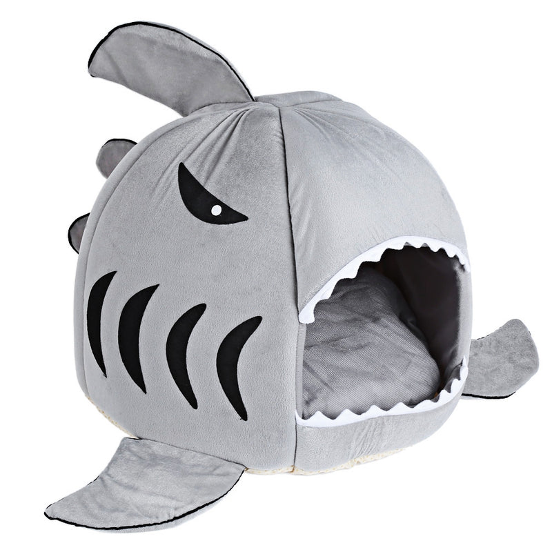 Novelty Soft Shark Mouth Shape Doghouse Pet Sleeping Bed with Removable Cushion - Oveya