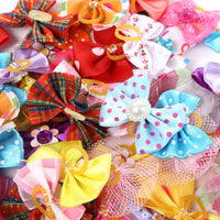 50pcs Mixed Colors Cute Pet Headwear Bow Butterfly Knots Rubber Band