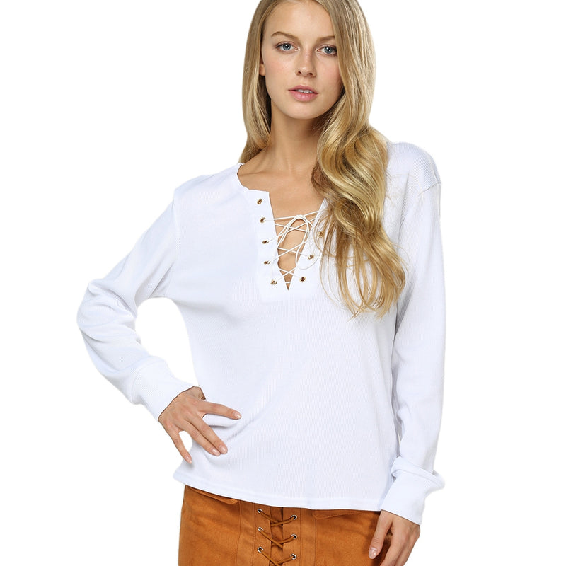 Long Sleeve With Plunging Neck Criss - Oveya