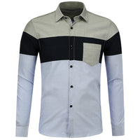 Color Block Long Sleeve Pocket Shirt