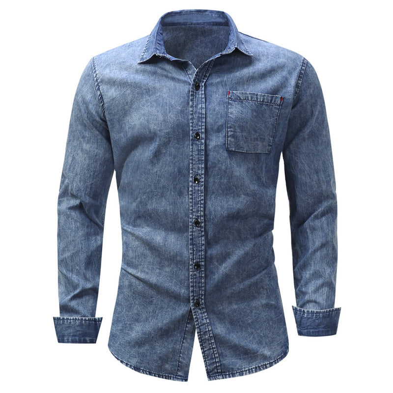 Turndown Collar Pocket Bleached Effect Chambray Shirt