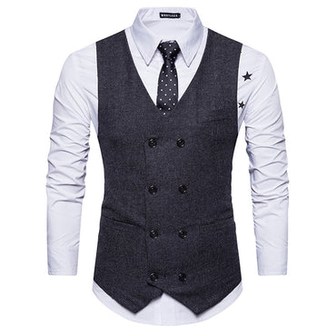 V Neck Double Breasted Belt Design Waistcoat - Oveya