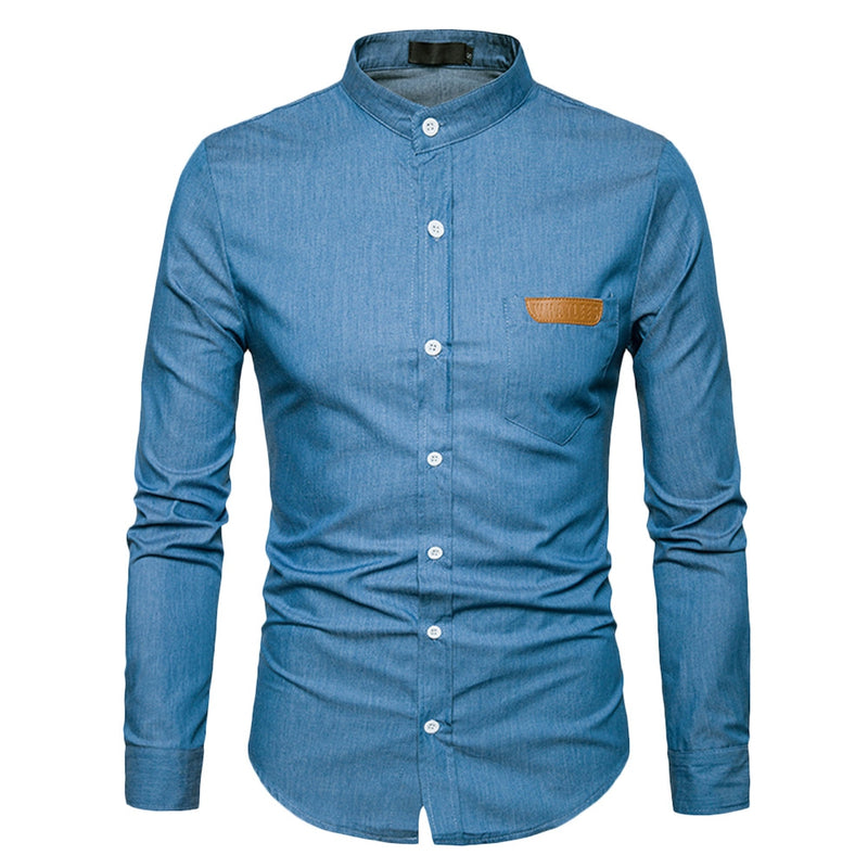 Stand Collar Long Sleeve Spliced Leather Pocket Button Men Shirt - Oveya