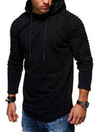 Solid Color Pleated Sleeve Long Fleece Hoodie