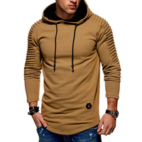 Solid Color Pleated Sleeve Long Fleece Hoodie - Oveya