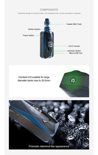 Diamond PD270  Kit with 2ml Captain Mini Tank & Diamond PD270 Mod 234W Max Output - Oveya