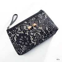 Lace Design Cosmetic Bag - Oveya