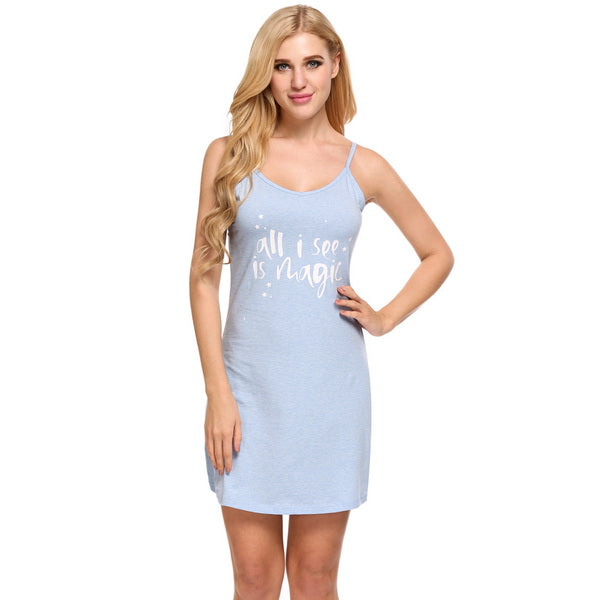 Women Letter Print Nightgown Sleep Lounge