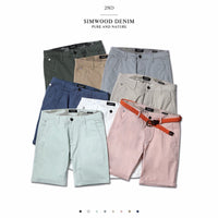 New Solid Shorts Men Cotton Slim Fit Knee Length