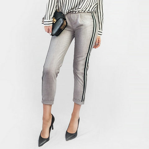 Casual Green Gray Trousers