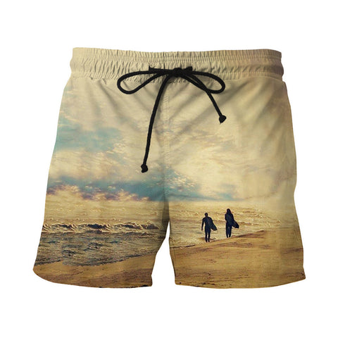 Men Fast Dry Beach Shorts Casual Surfing Swimming Trunks with Pockets