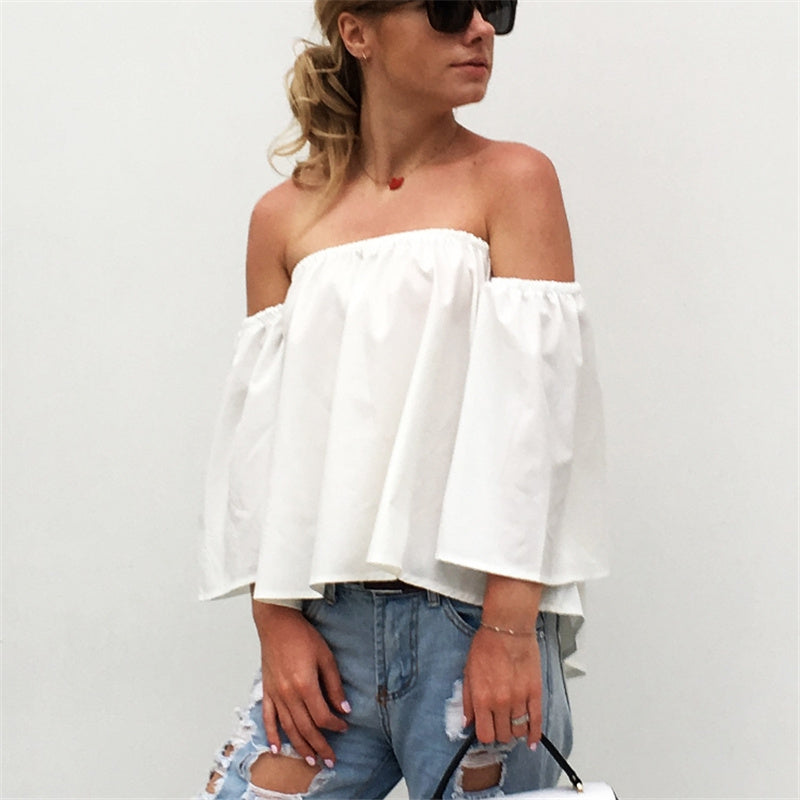 Womens Off Shoulder Short Chiffon Blouse