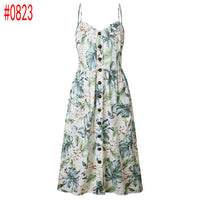 Summer Women Dress 2018 Vintage Sexy Bohemian Floral Tunic Beach Dress Sundress Pocket Red White Dress Striped Female Brand Ali9 - Oveya