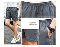 Polyester Shorts For Men Summer Solid Breathable Elastic - Oveya