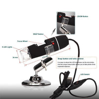 Digital Microscope 1000X Endoscope Zoom Camera Magnifier+Stand Device