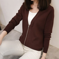 Knitting Short Cardigan Female Loose Zipper Long Sleeve Knitted Jumper