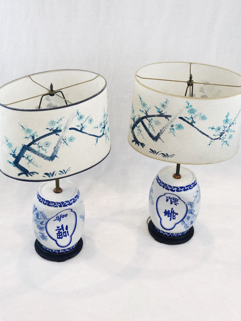 Set of Asian Lamps with hand painted shades