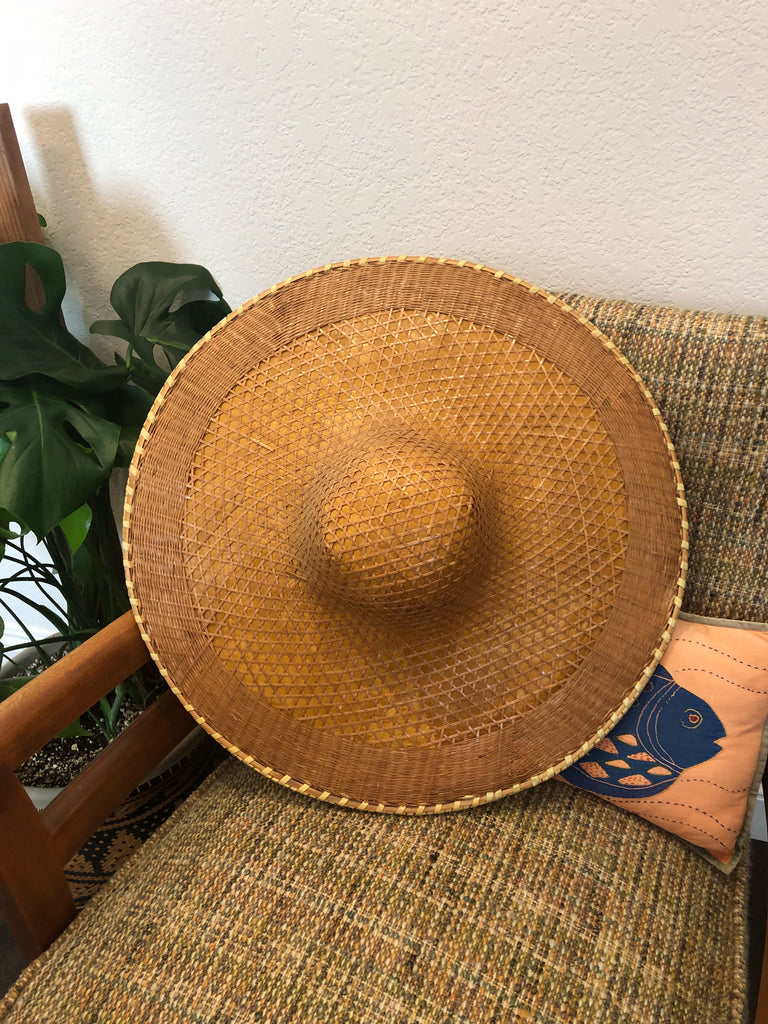 Large Vintage Woven Asian Hat