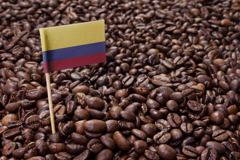 Colombian flag in coffee beans Eldorado Coffee