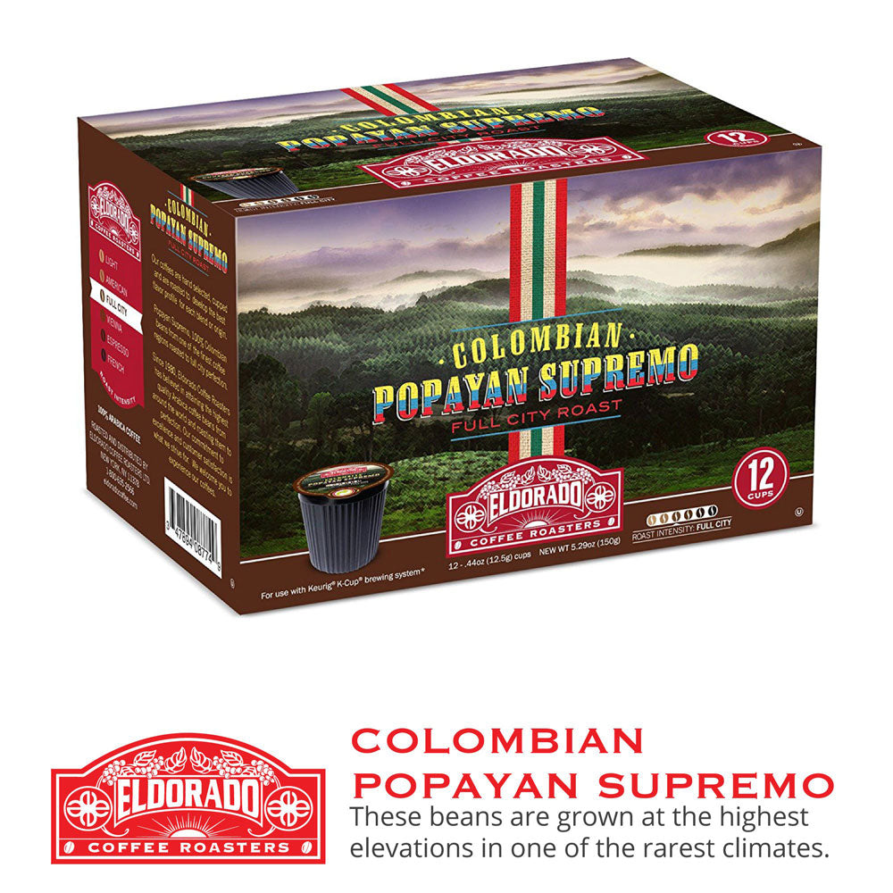 Colombian Popayan Supremo - K-Cup Single Serve Capsules, 12-pack / 96-pack - Eldorado Coffee Roasters