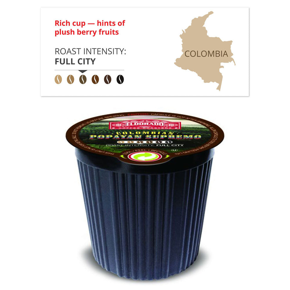 Colombian Popayan Supremo - K-Cup Single Serve Capsules, 12-pack / 96-pack - eldorado-coffee-roasters