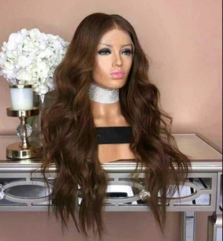 Light Brown Fake Scalp Human Hair Wig