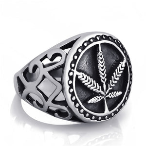 Men's Stainless Steel Ring Marijuana Leaf Symbol