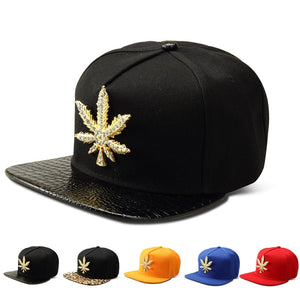 Golden Hemp Leaf Snapback Baseball Cap