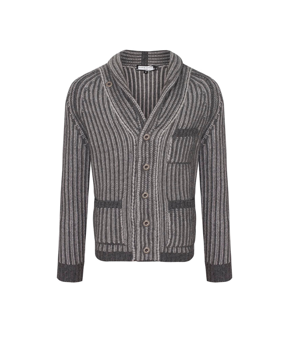 CALE CARDIGAN JACKET GREY-LIGHT GREY - Karim Guest Onlineshop