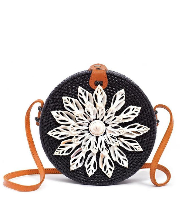 Rattan Bag with Real Seashells (Black)- Nessa