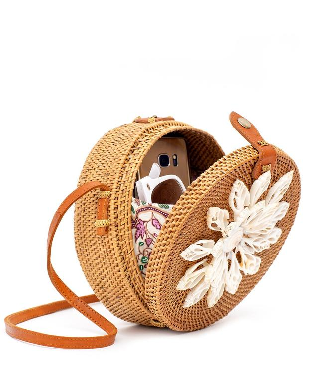 Rattan Bag with Real Seashells (Brown) - Lettie