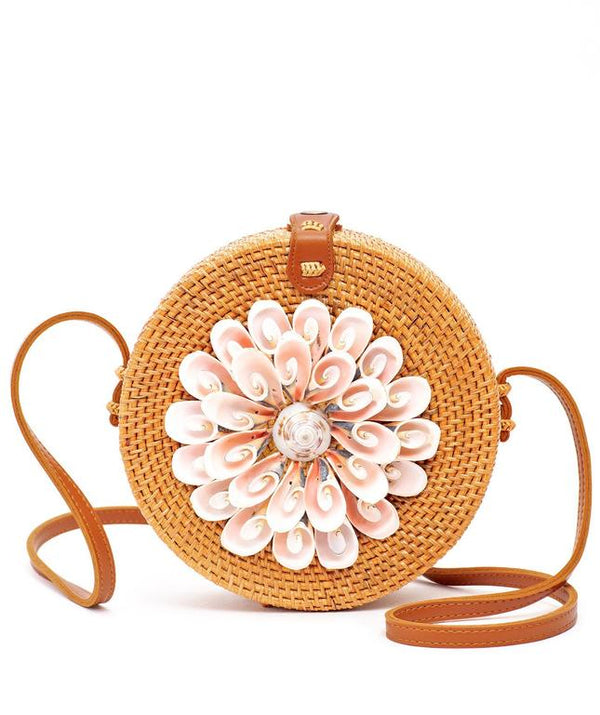 Rattan Bag  with Real Seashells (Brown)- Vetta