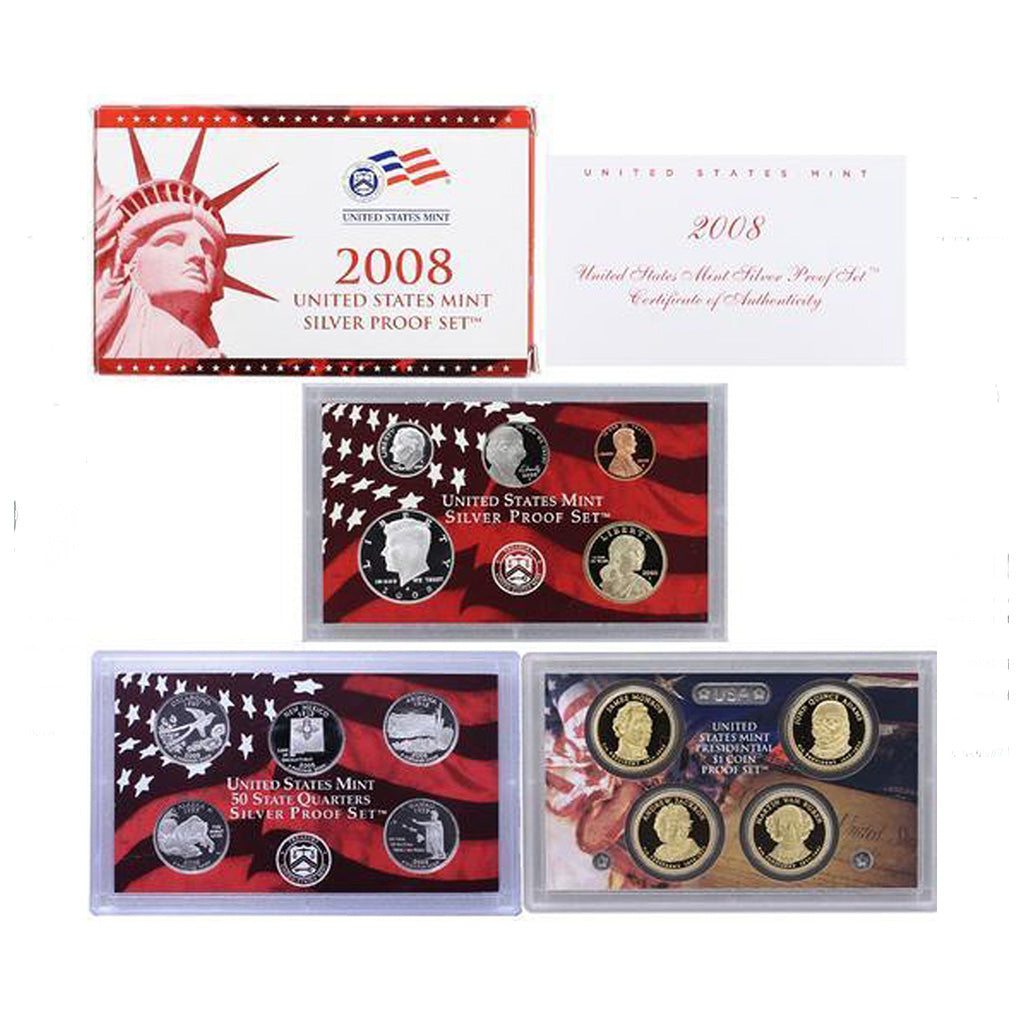 2008-S U.S. Silver Proof Set: Complete 14-Coin Set, with Box and COA