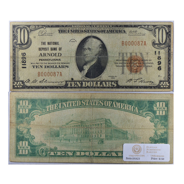 1929 Small Size $10 National Bank Note, National Deposit Bank of Arnold PA