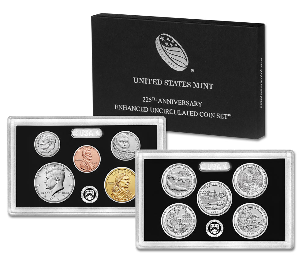 2017-S U.S. 225th Anniv. Enhanced Uncirculated Set: 10-Coin Set w/ Box & C.O.A.